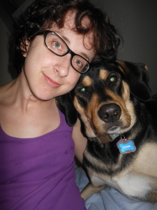 Me and Boomer after my double mastectomy